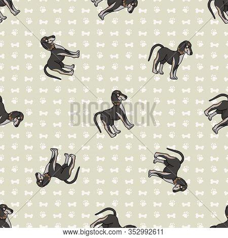 Hand Drawn Cute Saluki Puppy Breed Dog Seamless Vector Pattern. Purebred Pedigree Domestic Dog On Pa