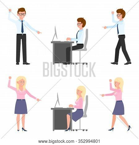 Angry, Stressed, Desperate, Upset, Sad Office Boy And Girl Vector Illustration. Shouting, Pointing F