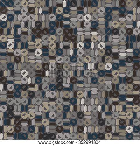 Dark Doodle Geo Mosaic Effect Vector Texture. Masculine Geometric Seamless Melange Pattern. Hand Dra