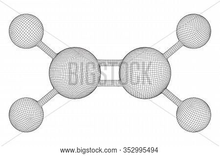 Ethylene Ethene Molecule. Used In Production Of Polyethylene. Plant Hormone. Wireframe Low Poly Mesh