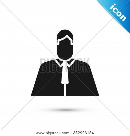 Grey Lawyer, Attorney, Jurist Icon Isolated On White Background. Jurisprudence, Law Or Court Icon. V