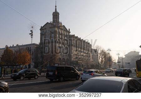 Kyiv, Ukraine - Nov. 10, 2018: Architecture Of Kyiv In Evening Time. Street Scene In Kyiv, The Capit