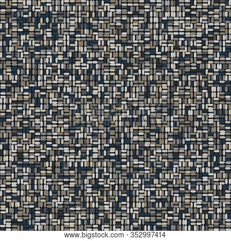 Dark Doodle Mosaic Effect Vector Texture. Masculine Geometric Seamless Melange Pattern. Hand Drawn V