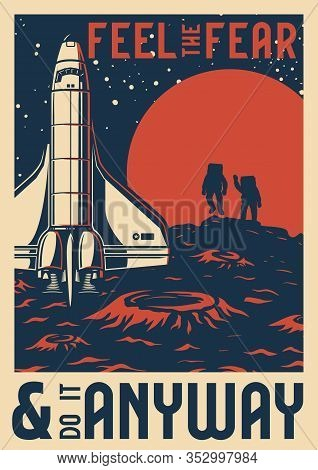 Vintage Space Research Template With Letterings Shuttle And Cosmonauts On Planet Surface Vector Illu
