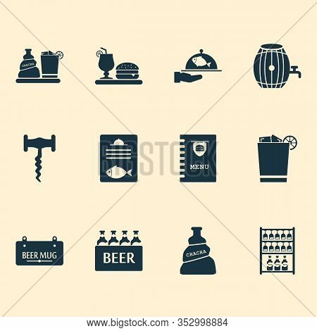 Beverages Icons Set With Tavern, Spacing, Container And Other Opener Elements. Isolated Vector Illus