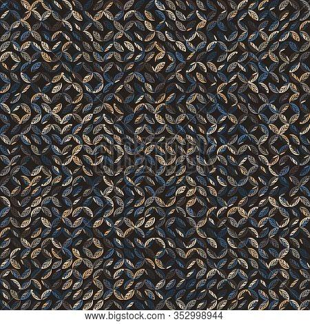 Dark Leaf Mosaic Effect Vector Texture. Masculine Geometric Seamless Melange Pattern. Hand Drawn Var