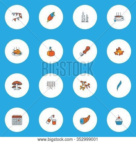 Festival Icons Colored Line Set With Cornucopia, Paper Garland, Umbrella Teacup Elements. Isolated V
