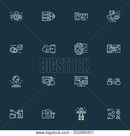 Connection Icons Line Style Set With Content Synching, Wearable Tracker, File Access And Other Commu