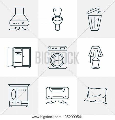Decor Icons Line Style Set With Exhaust Hood, Washing Machine, Pillow And Other Closet Elements. Iso