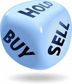 Blue dice symbol of securities trading stock market rolls BUY SELL or HOLD poster