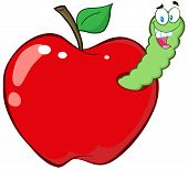 Happy Worm In Red Apple Cartoon Character poster