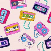 Seamless pattern of cassette tapes. Vector background. poster