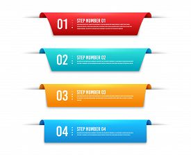 Infographic Banners. Price Labels With Steps And Options Set. Product Banner Ribbons, Price Shopping