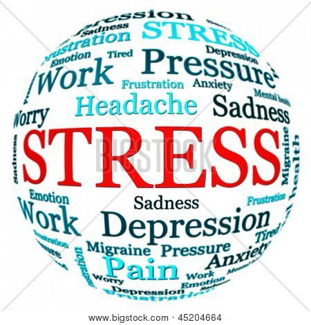 Stress related text arrangement (word cloud) with spherical form and the word STRESS in red uppercase isolated on white