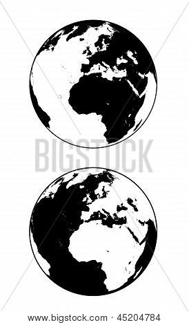 Earth Black And White Silhouette Vector Illustration