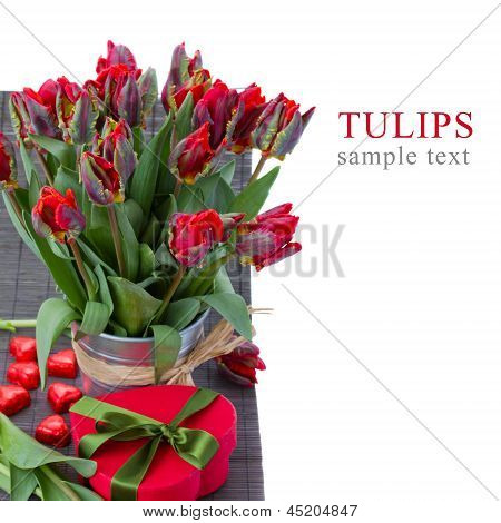 tulip flowers in pot with gift box
