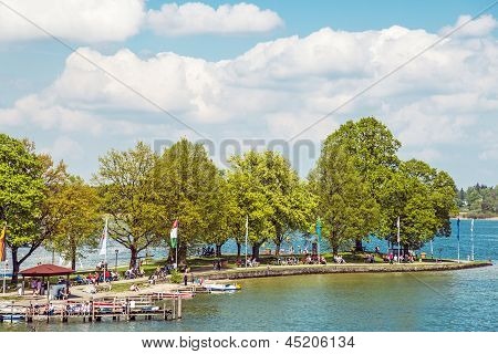 People At Chiemsee In Germany