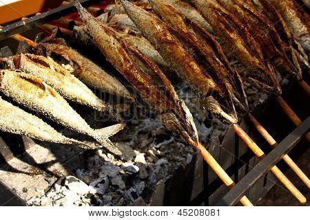 Grilled Fish (steckerlfisch) At The Munich Oktoberfest