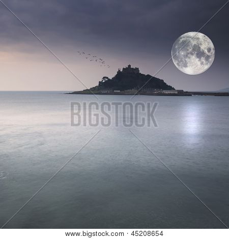St Michael's Mount Bay Marazion Pre-dawn Long Exposure With Moon
