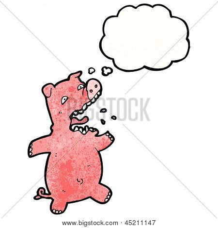 cartoon squealing pig with thought bubble