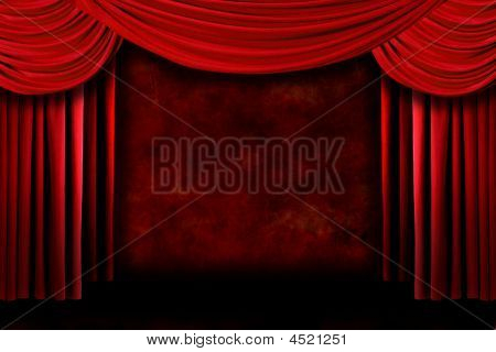 Background Of Red Stage Theater Drapes