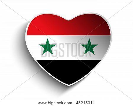Syria Flag Heart Paper Sticker