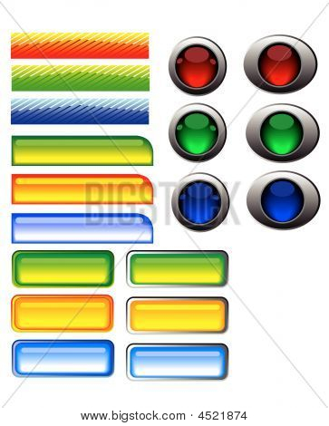 Multi-colored buttons to the interface. Vector illustration. poster