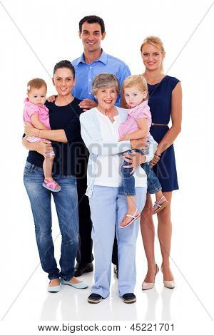 studio portrait of big family on white background
