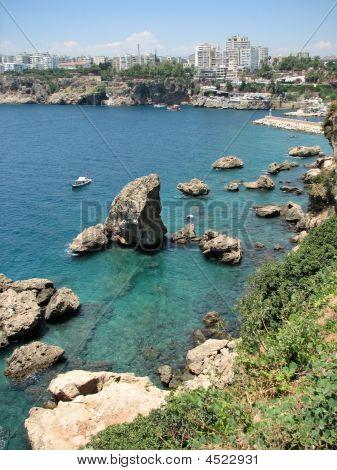 Coast Of Mediterranean Sea In Antalya
