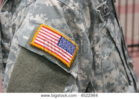 Flag Patch On Soldier Uniform