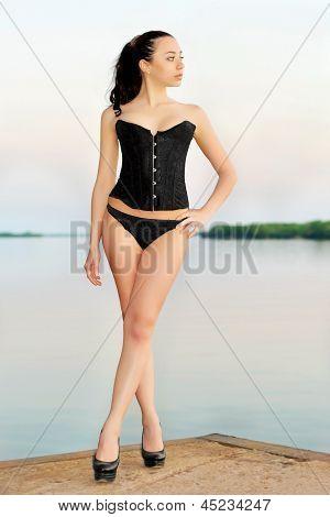 Brunette Wearing Black Panties