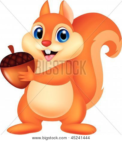 Vector illustration of Squirrel cartoon with nut poster