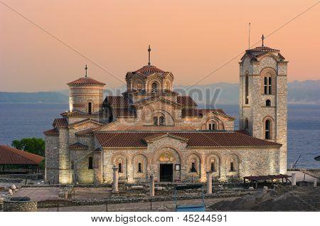 view of Saint Panteleimon Church at twilight in Old Ohrid, Republic of Macedonia