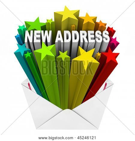 The words New Address in colorful stars shooting out of a letter or envelope as notice that you have moved into a different home and your mail should be forwarded