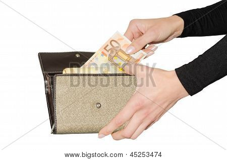 Isolated Purse With Bundle Of Euro Money
