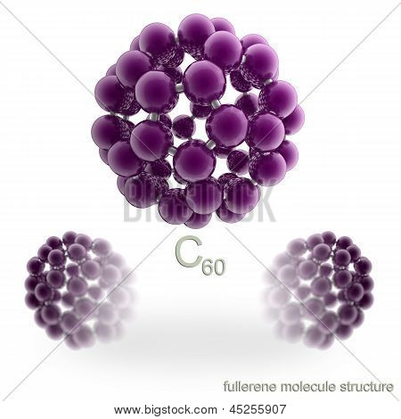 Molecule structure of fullerene. Isolated on white. poster