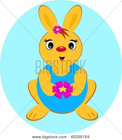 Rabbit Holding a Flower