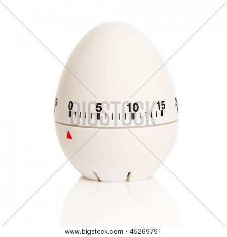 Egg-shaped timer on a white background