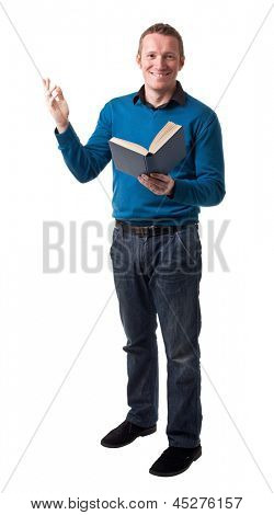 friendly teacher isolated on white background