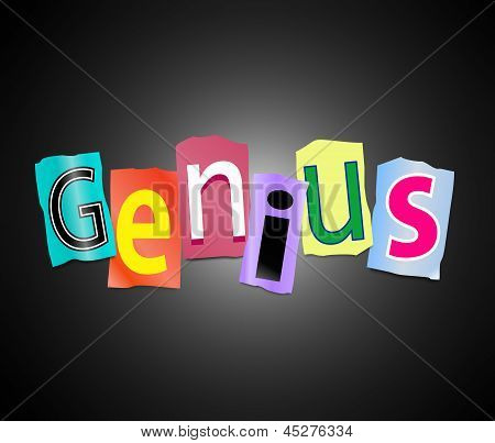 Illustration depicting cutout printed letters arranged to form the word genius. poster