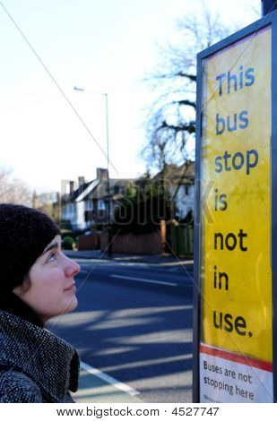 Woman At Bus Stop