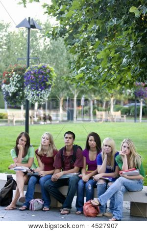 Students On A Bench - Vertical