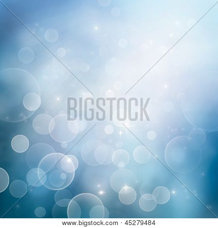 Festive winter abstract nature background with bokeh lights and stars poster