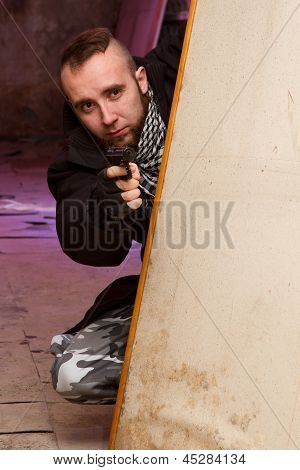 Bearded Terrorist With A Gun