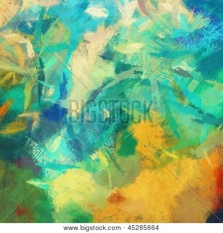 art abstract painted background with green, blue and orange blots poster