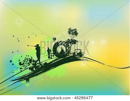 Golf Silhouettes In Green Background