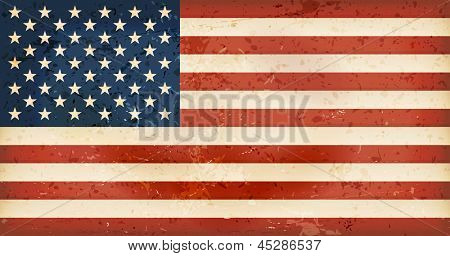 Vintage style flag of the United States of America. Grunge Elements give it an used and dirty feeling. Hoist (width) / Fly (length) of the flag = 1 to 1.9 Vector available.