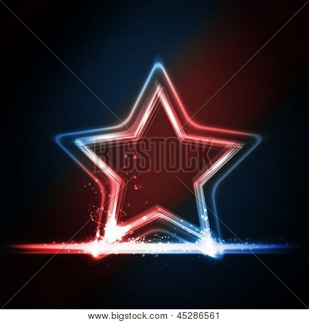 Star frame background with light effects on dark background in shades of red, white and blue. Great background for Independence day or any other patriotic theme in USA, GB, France, etc.