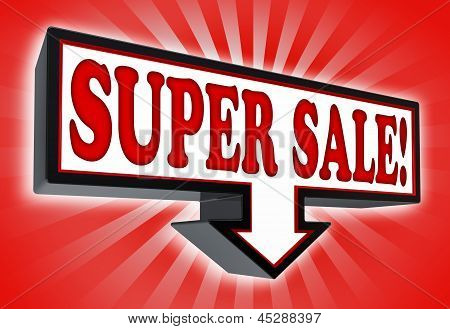 Super Sale Pricetag Sign With Arrow