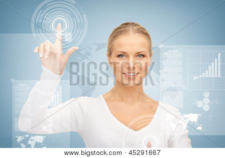 picture of attractive businesswoman touching virtual screen